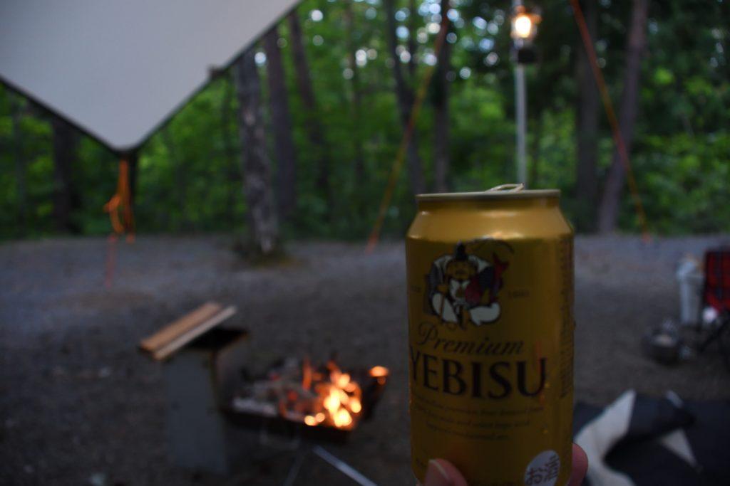 明野キャンプ場に乾杯