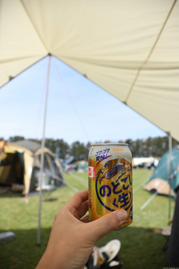 渚園キャンプ場にて乾杯