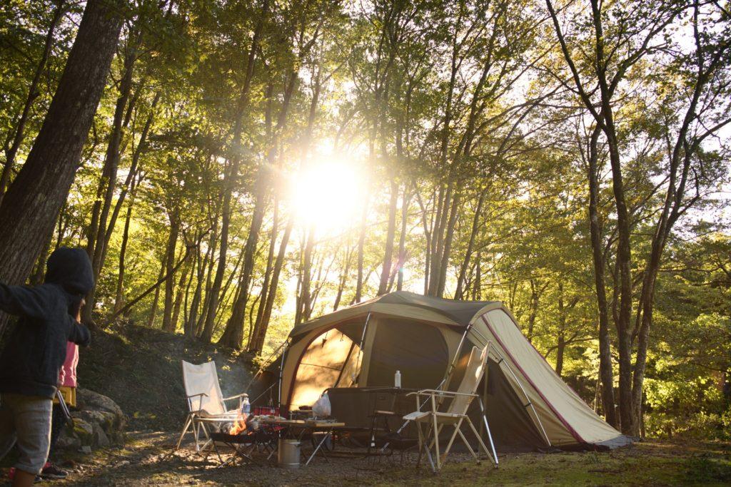 めいほうキャンプ場の林間サイト